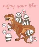 Pandas et chats de Kawaii avec le dinosaure illustration stock