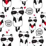 Pandas with hearts, black and white seamless pattern royalty free illustration