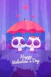 Pandas lindas debajo del paraguas en la lluvia Vector libre illustration