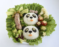 Pandas it is made of rice. Pandas are made of rice. Creative food for good mood and appetite Stock Photography