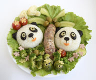 Pandas it is made of rice. Pandas are made of rice. Creative food for good mood and appetite Royalty Free Stock Photos