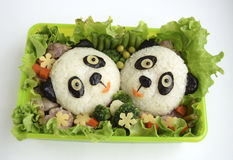Pandas it is made of rice. Pandas are made of rice. Creative food for good mood and appetite Stock Images