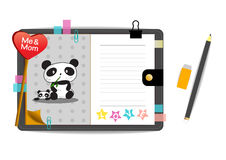 Pandas mim e da mamã com o caderno do cinza do amor Imagens de Stock