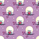 Pandas and moon pattern. Seamless pattern with the image of cute pandas and hearts. Colorful vector background Stock Image