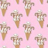 Pandas sans couture de kawaii sur le modèle de cornet de crème glacée illustration stock