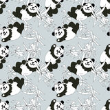Pandas seamless pattern Stock Photos