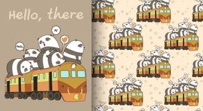 Pandas sem emenda do kawaii no teste padrão do trem ilustração stock
