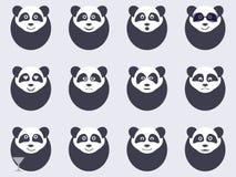 Pandas set of emoticons. Vector Royalty Free Stock Photos