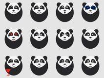 Pandas set of emoticons. Vector Stock Photos
