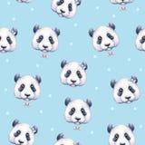 Pandas sur le fond bleu-clair Configuration sans joint Retrait d'aquarelle L'illustration des enfants Travail manuel Photos libres de droits