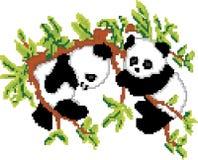 Pandas on Tree Pixel Art Royalty Free Stock Photography
