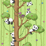 Pandas on the tree. Seamless texture with funny pandas on the tree, bright colors, illustration vector illustration