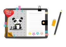 Pandas yo y de la mamá con el cuaderno del gris del amor Imagenes de archivo