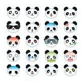 Pandasmiley-Gesichtsikonen eingestellt lizenzfreie abbildung