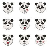 Pandasymbolsuppsättning som isoleras på vit royaltyfri fotografi