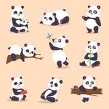 Pandatecknad filmtecken i fett för björn för panda för svart för porslin för olik uttrycksvektor djurt vitt gulligt jätte- däggdj vektor illustrationer
