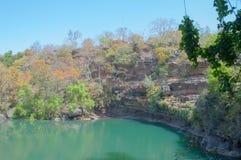Pandav faller på Panna National Park, Madhya Pradesh, Indien Royaltyfria Bilder