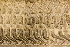 Pandava Army bas relief Angkor Wat. Bas relief of Pandava soldiers marching to the Battle of Kurukshetra as described in the Mahabharata.  Eleventh century Royalty Free Stock Photography