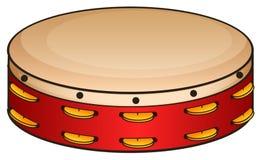 Pandeiro vermelho no branco ilustração do vetor
