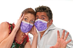 Pandemia Panic. People with masks to protect from viruses and influenza or pollution Stock Photography