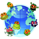 Pandemic. Planet Earth and evil germs around spreading infection Royalty Free Stock Images