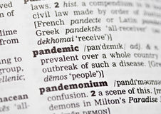 Pandemic. Closeup of word pandemic in dictionary Royalty Free Stock Photos
