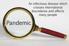 Pandemic Concept with Words and Magnifying Glass. Pandemic Concept - looking at  Pandemic through a magnifying glass Royalty Free Stock Photo