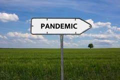 PANDEMISCH - Bild mit den Wörtern verbunden mit der Thema EPIDEMIE, Wortwolke, Würfel, Buchstabe, Bild, Illustration stockfotos