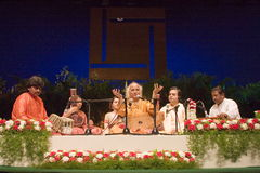 PANDIT JASRAJ PERFORMING AT STAGE. Pandit Jasraj is one of India's premier classical vocalists and the foremost exponent of Mewati Gharana. Recipient of Padma Stock Image