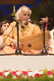 PANDIT JASRAJ PERFORMING AT STAGE. Pandit Jasraj is one of India's premier classical vocalists and the foremost exponent of Mewati Gharana. Recipient of Padma Royalty Free Stock Photo