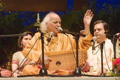PANDIT JASRAJ PERFORMING AT STAGE. Pandit Jasraj is one of India's premier classical vocalists and the foremost exponent of Mewati Gharana. Recipient of Padma Royalty Free Stock Image