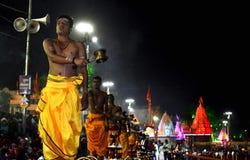 Pandits performing dhup aarti of river kshipra at the simhasth maha kumbh mela 2016, Ujjain India Stock Photo