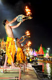 Pandits performing river aarti on the bank of kshipra at the simhasth maha kumbh mela 2016, Ujjain India Royalty Free Stock Photography
