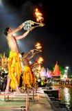 Pandits performing river aarti on the bank of kshipra at the simhasth maha kumbh mela 2016, Ujjain India Royalty Free Stock Photography