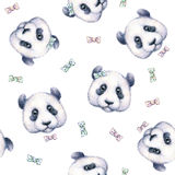 Pandor på vit bakgrund seamless modell grupper som tecknar spolning för vattenfärg för blomningflodtrees barnillustration s handw Fotografering för Bildbyråer