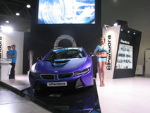 Pandora and BMW. The girl from the BMW team works on exhibition. Moscow International  Auto Show 2016 Royalty Free Stock Images