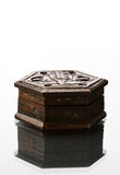 Pandora Box. Just an old box of my collection on the glass desk to achieve light gradation stock photo