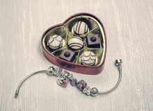 Pandora Bracelet jewelry, retro style Royalty Free Stock Image