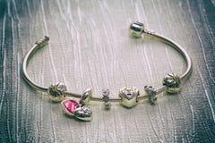 Pandora Bracelet jewelry, retro style Royalty Free Stock Photos