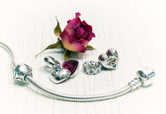 Pandora Bracelet jewelry, retro style Stock Image