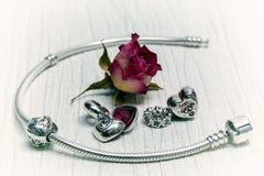 Pandora Bracelet jewelry, retro style Stock Images