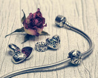 Pandora Bracelet jewelry, retro style Stock Photos