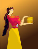 Pandora's box. Greek woman with box in the hands, color illustration Stock Photos
