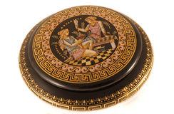 Pandora's box. Greek traditional jewelery box with ornaments based on greek mithology Royalty Free Stock Images