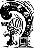 Pandora's Box. Woodcut style expressionist image of the Greek Myth of Pandora opening the box of the world's ills Stock Photo