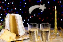 Pandoro Christmas cake and champagne Royalty Free Stock Photo