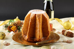 Pandoro Christmas cake on decorated table Stock Image