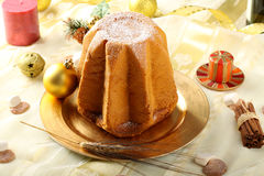Pandoro Christmas cake on decorated table Stock Photography