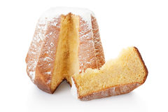 Pandoro, Christmas cake and slice with icing sugar Royalty Free Stock Photo
