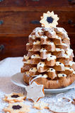 Pandoro Italian sweet christmas tree Royalty Free Stock Photography